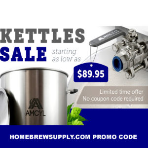 HomebrewSupply.com Coupon Code for 25% off brewing kettles