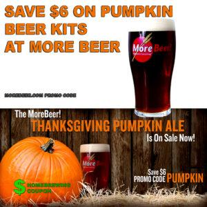 MoreBeer.com Promo Code for $6 Off Pumpkin Ale Beer Kits