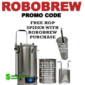 WilliamsBrewing.com Robobrew Promo Code for a free hop spider and stainless steel wort chiller