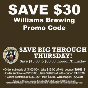 Williams Brewing Coupon Code Save $30