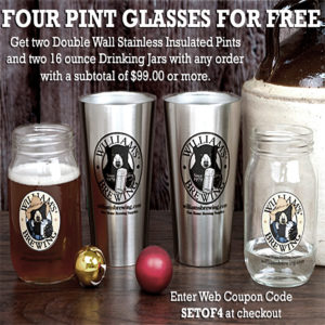 Williams Brewing Promo Code for 4 Free Beer Glasses