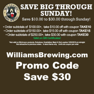 Williamsbrewing.com promo code for December. Save an additional $30 with coupon.