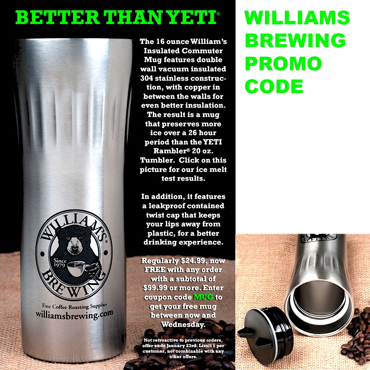 Free Stainless Steel Beer Mug Promo Code from Williamsbrewing.com